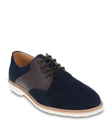 Linx Contrast Brogue Lace-Ups Blue