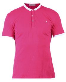 Linx Slim Fit Styled Picquet Golfer With Button Down Collar Pink