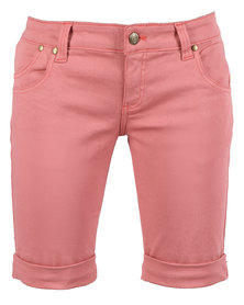 Linx Pocketed Stretch Slim Shorts Red