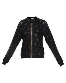 Linx Lace Bomber Jacket Black