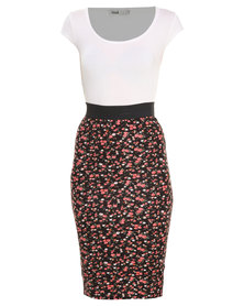 Linx Ditsy Bodycon Twofer Dress Multi