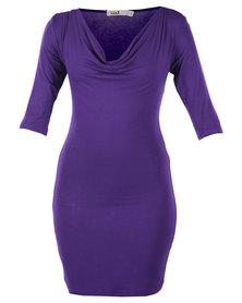 Linx Jabeau 3/4 Sleeve Cowl Dress Purple