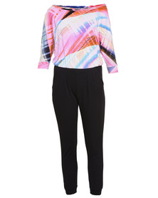 Linx Jumpsuit with Pastel Graphic Print Top Multi