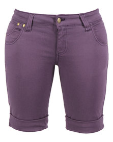 Linx Pocketed Stretch Slim Shorts Purple