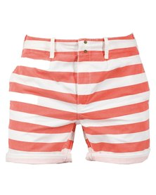 Linx Stripe Flat Front Shorts Coral