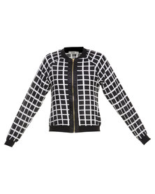 Linx Grid Print Bomber Jacket Black and White