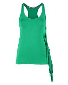 Linx Fringe Vest Green
