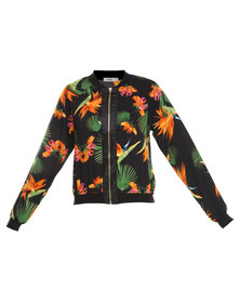 Linx Tropical Print Bomber Jacket Multi