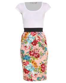 Linx Pink Rose Printed Bodycon Twofer Dress Multi