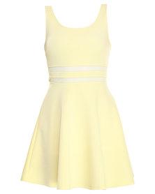 Linx Mesh Inset Skater Dress Lemon