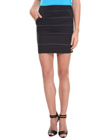 Linx Poplin Pencil Skirt Black