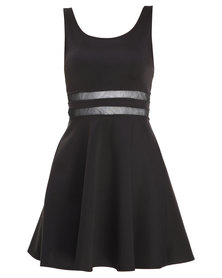 Linx Mesh Inset Skater Dress Black