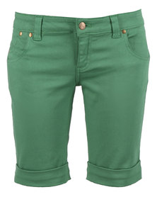 Linx Pocketed Stretch Slim Shorts Green