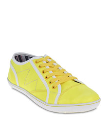 Linx Lace-Up Stitched Sneakers Yellow