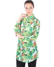 Linx Tropical Shirt Dress Green