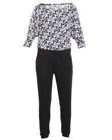 Linx Jumpsuit with Print Top Black