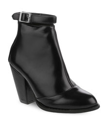 Linx Glossy Heel Ankle Boot Black