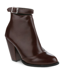 Linx Glossy Heel Ankle Boots Brown