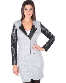 Linx Quilted Biker Jacket Grey