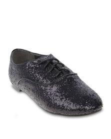 Linx Glitter Lace Up Flats Black