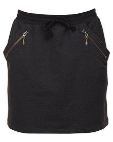 Linx Fleece Mini Skirt Black