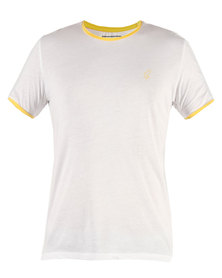 Linx Contrast Rib Sleeve White T-Shirt Yellow