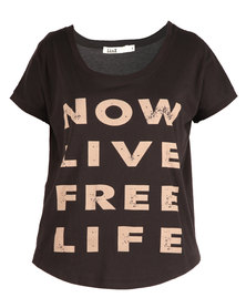Linx Printed Slogan T-Shirt Brown