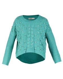 Linx Allover Cable Stud Knitwear Jade