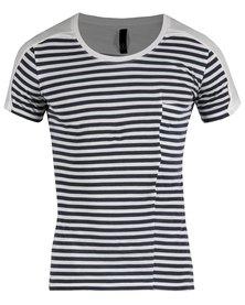 Linx Panelled Stripe T-Shirt Blue
