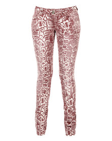 Linx Stretch Jeans Printed Red