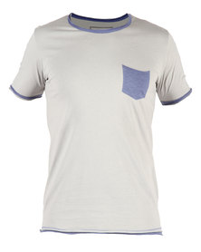 Linx Contrast Pocket Crew T-Shirt Grey
