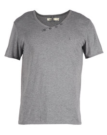 Linx Styled V-Neck T-Shirt Grey
