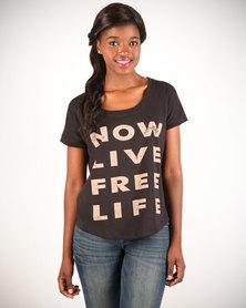 Linx Printed Slogan T-Shirt Brown