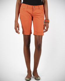 Linx Pocketed Stretch Slim Shorts Orange