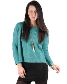 Linx Cable Stud Knitwear Green