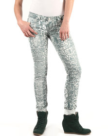 Linx Stretch Jeans Printed Green