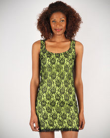 Linx Lace Shift Dress Black And Lime