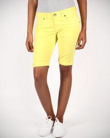 Linx Slim Stretch Shorts Yellow