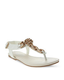 Linx Gold-Tone Trim Sandals White