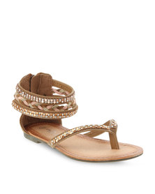 Footwork Young Girls Flat Sandals Tan