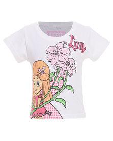 Lizzy Kitty-Tot Girls Basic S/S Tee White