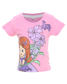 Lizzy Kitty-Tot Girls Basic S/S Tee Pink