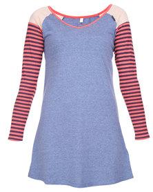 Lizzy Aisha LS Raglan Tee Dress Blue