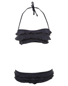 Lizzy Simone Ruffle Boobtube Bikini Set Black