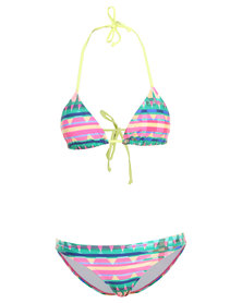 Lizzy Ewa Triangle Bikini Top with Brief Bikini Bottoms Multi