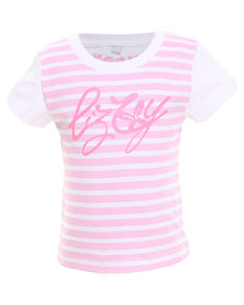 Lizzy Angel S/S Tee Pink/White