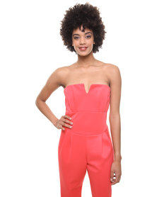 London Fashion Hub Lili London Sonia Bandeau Jumpsuit Coral