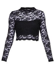 London Fashion Hub Lace Top Black