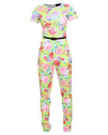 London Fashion Hub Missi Alpha Floral Print Jumpsuit Multi