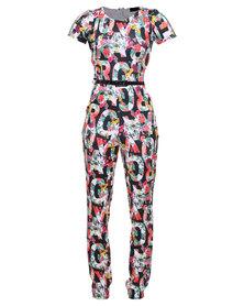 London Fashion Hub Missi Celebrity Inspired Floral Jumpsuit Multi